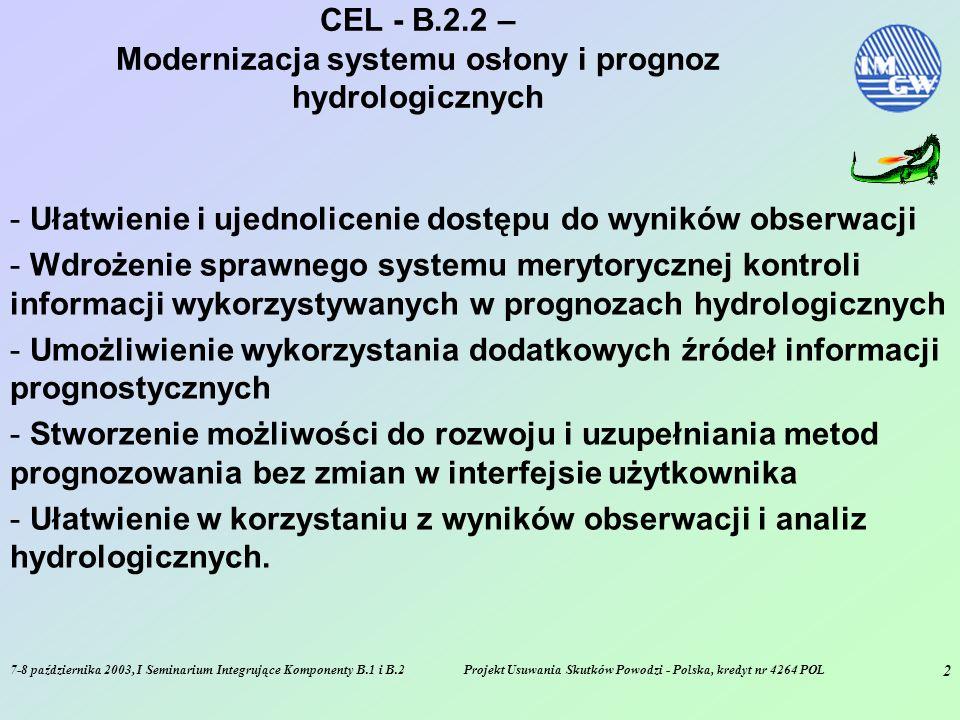7-8 października 2003, I Seminarium Integrujące Komponenty B.1 i B.2Projekt Usuwania Skutków Powodzi - Polska, kredyt nr 4264 POL 2 CEL - B.2.2 – Modernizacja systemu osłony i prognoz hydrologicznych - Ułatwienie i ujednolicenie dostępu do wyników obserwacji - Wdrożenie sprawnego systemu merytorycznej kontroli informacji wykorzystywanych w prognozach hydrologicznych - Umożliwienie wykorzystania dodatkowych źródeł informacji prognostycznych - Stworzenie możliwości do rozwoju i uzupełniania metod prognozowania bez zmian w interfejsie użytkownika - Ułatwienie w korzystaniu z wyników obserwacji i analiz hydrologicznych.