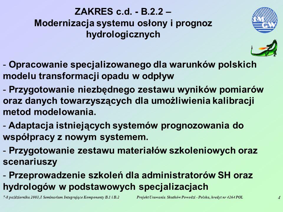 7-8 października 2003, I Seminarium Integrujące Komponenty B.1 i B.2Projekt Usuwania Skutków Powodzi - Polska, kredyt nr 4264 POL 4 ZAKRES c.d.