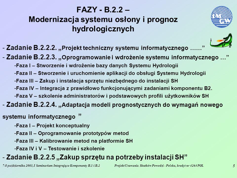 7-8 października 2003, I Seminarium Integrujące Komponenty B.1 i B.2Projekt Usuwania Skutków Powodzi - Polska, kredyt nr 4264 POL 5 FAZY - B.2.2 – Modernizacja systemu osłony i prognoz hydrologicznych - Zadanie B.2.2.2.