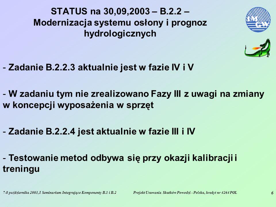 7-8 października 2003, I Seminarium Integrujące Komponenty B.1 i B.2Projekt Usuwania Skutków Powodzi - Polska, kredyt nr 4264 POL 6 STATUS na 30,09,2003 – B.2.2 – Modernizacja systemu osłony i prognoz hydrologicznych - Zadanie B.2.2.3 aktualnie jest w fazie IV i V - W zadaniu tym nie zrealizowano Fazy III z uwagi na zmiany w koncepcji wyposażenia w sprzęt - Zadanie B.2.2.4 jest aktualnie w fazie III i IV - Testowanie metod odbywa się przy okazji kalibracji i treningu