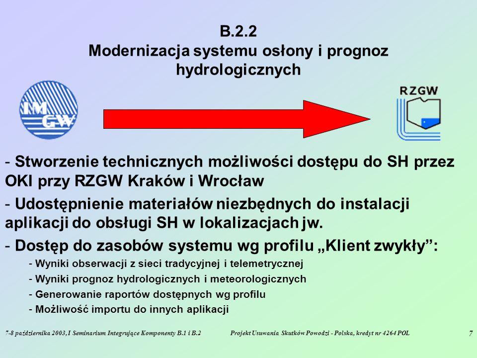 7-8 października 2003, I Seminarium Integrujące Komponenty B.1 i B.2Projekt Usuwania Skutków Powodzi - Polska, kredyt nr 4264 POL 7 B.2.2 Modernizacja systemu osłony i prognoz hydrologicznych - Stworzenie technicznych możliwości dostępu do SH przez OKI przy RZGW Kraków i Wrocław - Udostępnienie materiałów niezbędnych do instalacji aplikacji do obsługi SH w lokalizacjach jw.