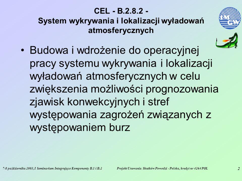 7-8 października 2003, I Seminarium Integrujące Komponenty B.1 i B.2Projekt Usuwania Skutków Powodzi - Polska, kredyt nr 4264 POL 2 CEL - B.2.8.2 - System wykrywania i lokalizacji wyładowań atmosferycznych Budowa i wdrożenie do operacyjnej pracy systemu wykrywania i lokalizacji wyładowań atmosferycznych w celu zwiększenia możliwości prognozowania zjawisk konwekcyjnych i stref występowania zagrożeń związanych z występowaniem burz