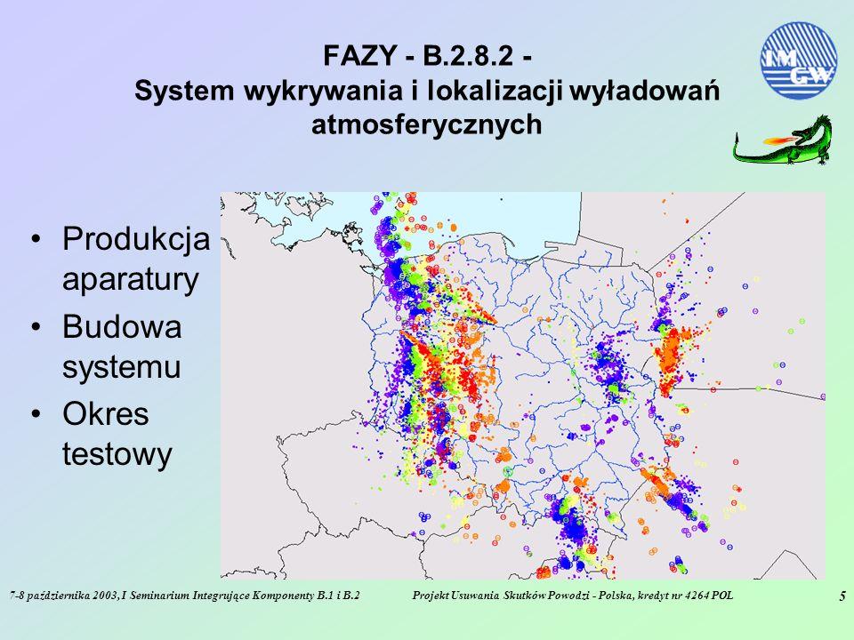 7-8 października 2003, I Seminarium Integrujące Komponenty B.1 i B.2Projekt Usuwania Skutków Powodzi - Polska, kredyt nr 4264 POL 5 FAZY - B.2.8.2 - System wykrywania i lokalizacji wyładowań atmosferycznych Produkcja aparatury Budowa systemu Okres testowy