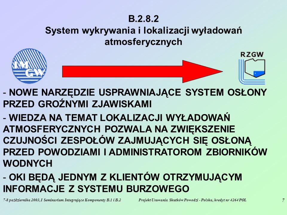 7-8 października 2003, I Seminarium Integrujące Komponenty B.1 i B.2Projekt Usuwania Skutków Powodzi - Polska, kredyt nr 4264 POL 7 B.2.8.2 System wykrywania i lokalizacji wyładowań atmosferycznych - NOWE NARZĘDZIE USPRAWNIAJĄCE SYSTEM OSŁONY PRZED GROŹNYMI ZJAWISKAMI - WIEDZA NA TEMAT LOKALIZACJI WYŁADOWAŃ ATMOSFERYCZNYCH POZWALA NA ZWIĘKSZENIE CZUJNOŚCI ZESPOŁÓW ZAJMUJĄCYCH SIĘ OSŁONĄ PRZED POWODZIAMI I ADMINISTRATOROM ZBIORNIKÓW WODNYCH - OKI BĘDĄ JEDNYM Z KLIENTÓW OTRZYMUJĄCYM INFORMACJE Z SYSTEMU BURZOWEGO