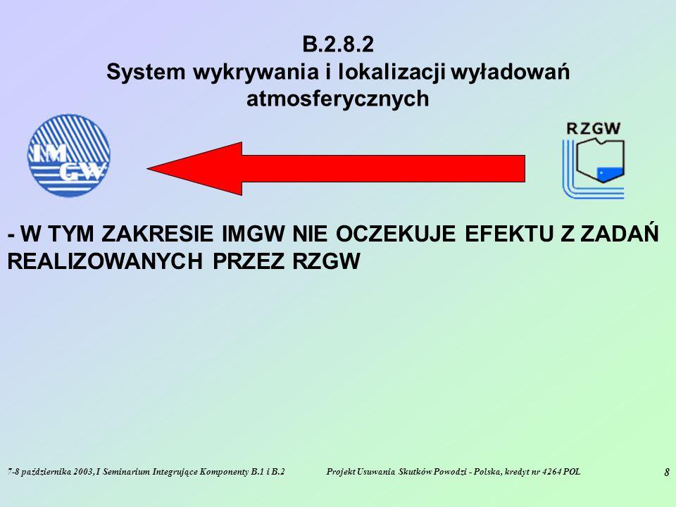7-8 października 2003, I Seminarium Integrujące Komponenty B.1 i B.2Projekt Usuwania Skutków Powodzi - Polska, kredyt nr 4264 POL 8 B.2.8.2 System wykrywania i lokalizacji wyładowań atmosferycznych - W TYM ZAKRESIE IMGW NIE OCZEKUJE EFEKTU Z ZADAŃ REALIZOWANYCH PRZEZ RZGW