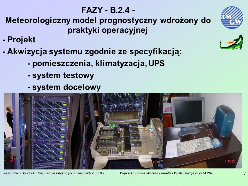 7-8 października 2003, I Seminarium Integrujące Komponenty B.1 i B.2Projekt Usuwania Skutków Powodzi - Polska, kredyt nr 4264 POL 4 FAZY - B.2.4 - Meteorologiczny model prognostyczny wdrożony do praktyki operacyjnej - Projekt - Akwizycja systemu zgodnie ze specyfikacją: - pomieszczenia, klimatyzacja, UPS - system testowy - system docelowy