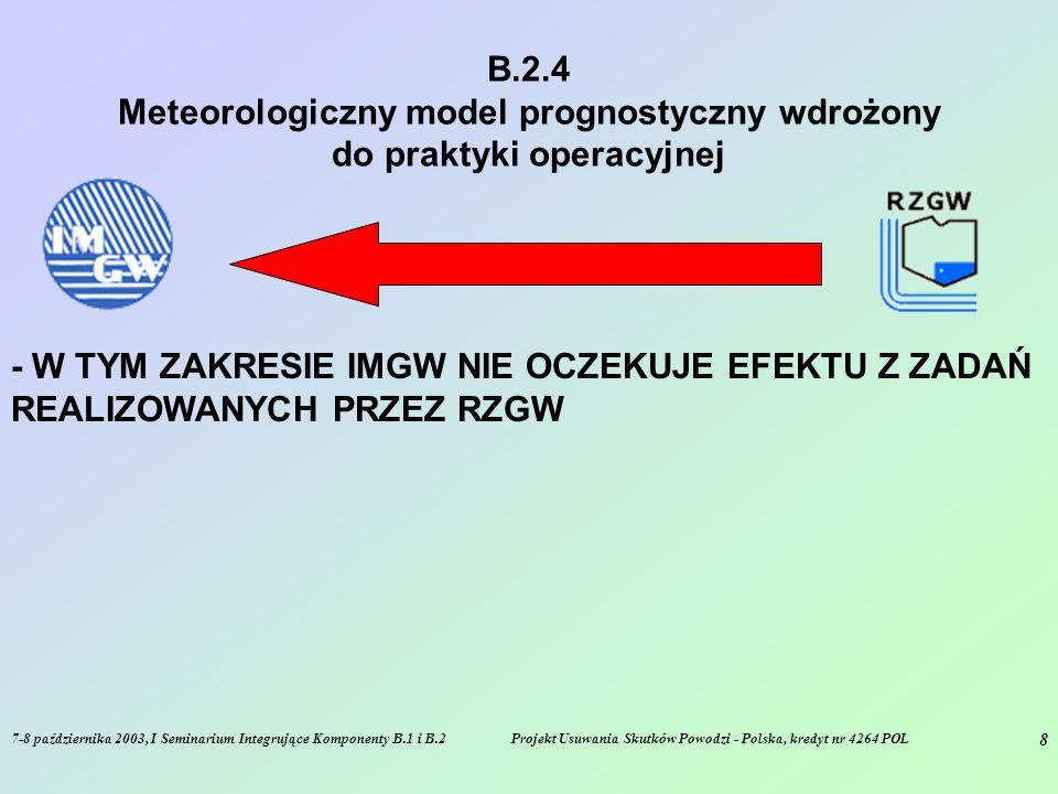 7-8 października 2003, I Seminarium Integrujące Komponenty B.1 i B.2Projekt Usuwania Skutków Powodzi - Polska, kredyt nr 4264 POL 8 B.2.4 Meteorologiczny model prognostyczny wdrożony do praktyki operacyjnej - W TYM ZAKRESIE IMGW NIE OCZEKUJE EFEKTU Z ZADAŃ REALIZOWANYCH PRZEZ RZGW