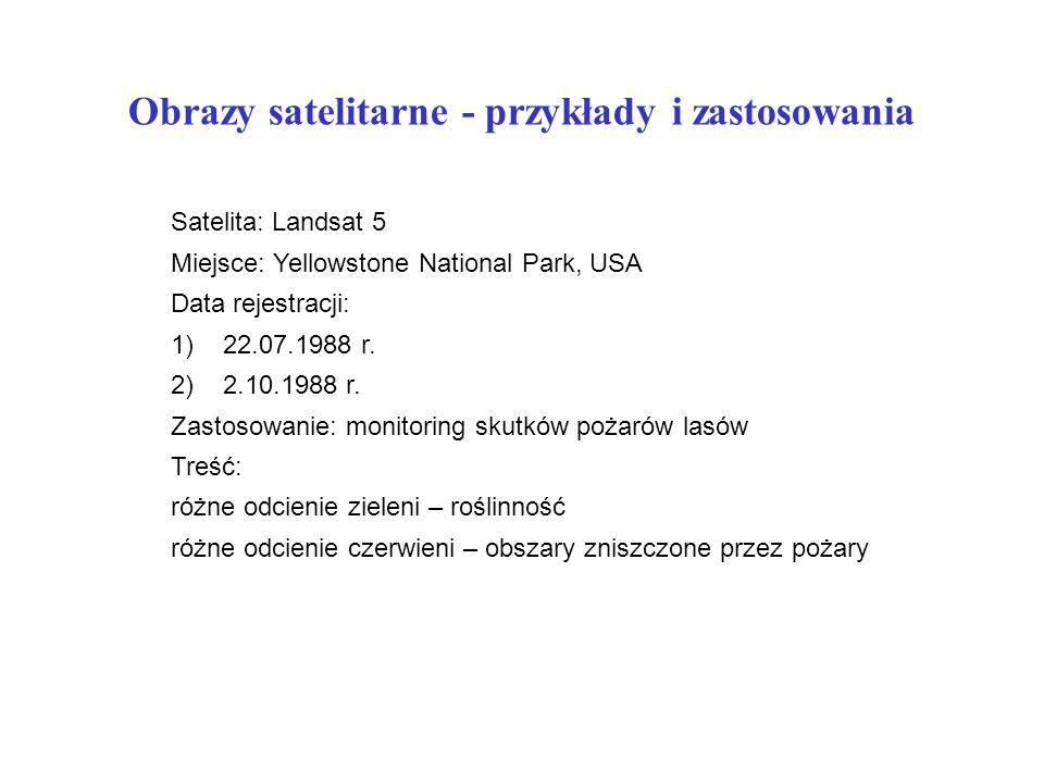Obrazy satelitarne - przykłady i zastosowania Satelita: Landsat 5 Miejsce: Yellowstone National Park, USA Data rejestracji: 1)22.07.1988 r.