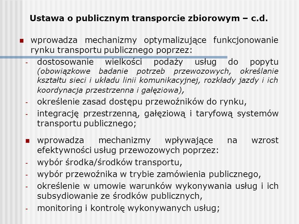 Ustawa o publicznym transporcie zbiorowym – c.d. wprowadza mechanizmy optymalizujące funkcjonowanie rynku transportu publicznego poprzez: - dostosowan