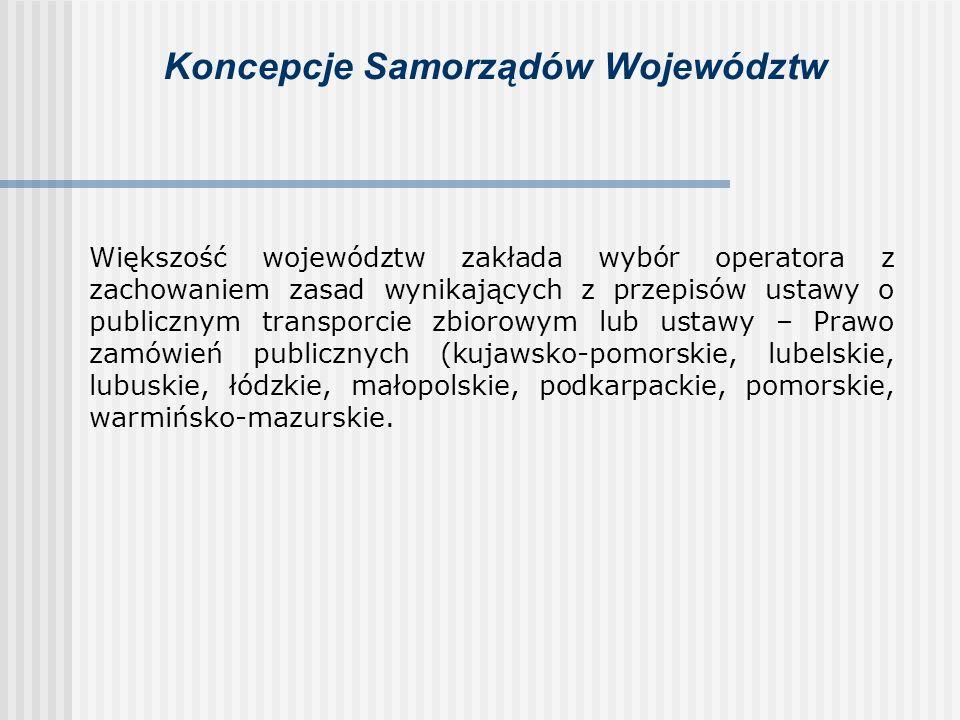 Koncepcje Samorządów Województw Większość województw zakłada wybór operatora z zachowaniem zasad wynikających z przepisów ustawy o publicznym transpor