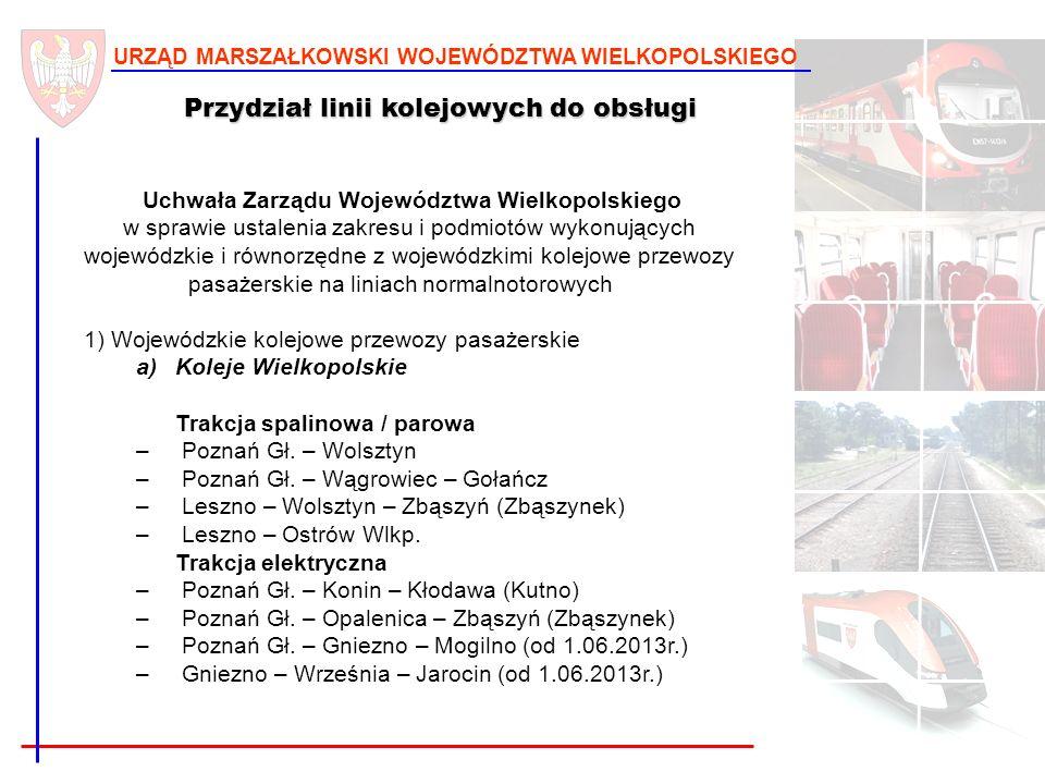 9 URZĄD MARSZAŁKOWSKI WOJEWÓDZTWA WIELKOPOLSKIEGO Przydział linii kolejowych do obsługi Uchwała Zarządu Województwa Wielkopolskiego w sprawie ustaleni
