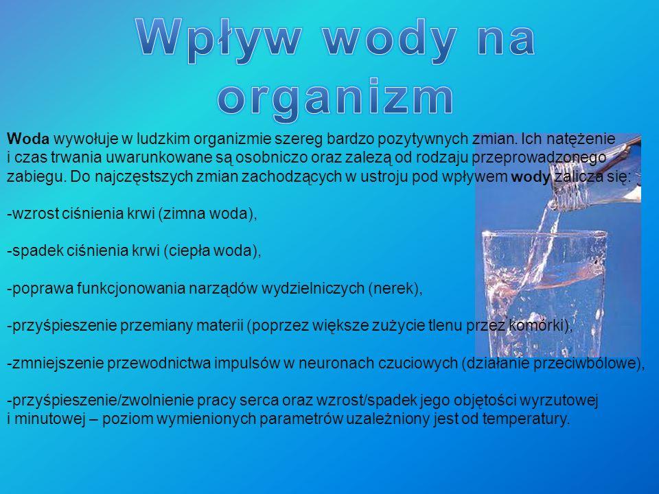 Woda wywołuje w ludzkim organizmie szereg bardzo pozytywnych zmian. Ich natężenie i czas trwania uwarunkowane są osobniczo oraz zalezą od rodzaju prze