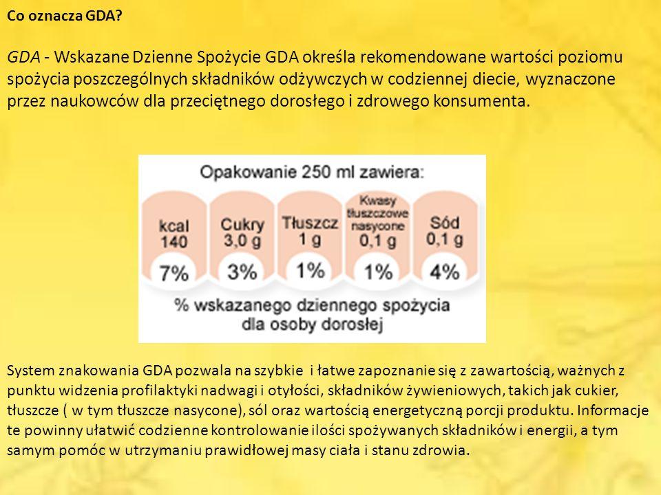 Co oznacza GDA? GDA - Wskazane Dzienne Spożycie GDA określa rekomendowane wartości poziomu spożycia poszczególnych składników odżywczych w codziennej