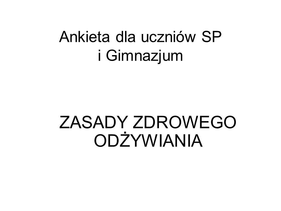 Ankieta dla uczniów SP i Gimnazjum ZASADY ZDROWEGO ODŻYWIANIA