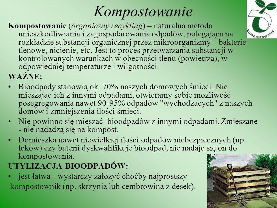 Kompostowanie Kompostowanie (organiczny recykling) – naturalna metoda unieszkodliwiania i zagospodarowania odpadów, polegająca na rozkładzie substancj