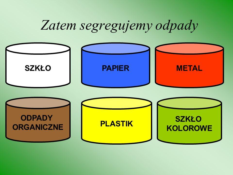 Zatem segregujemy odpady SZKŁOPAPIERMETAL ODPADY ORGANICZNE PLASTIK SZKŁO KOLOROWE