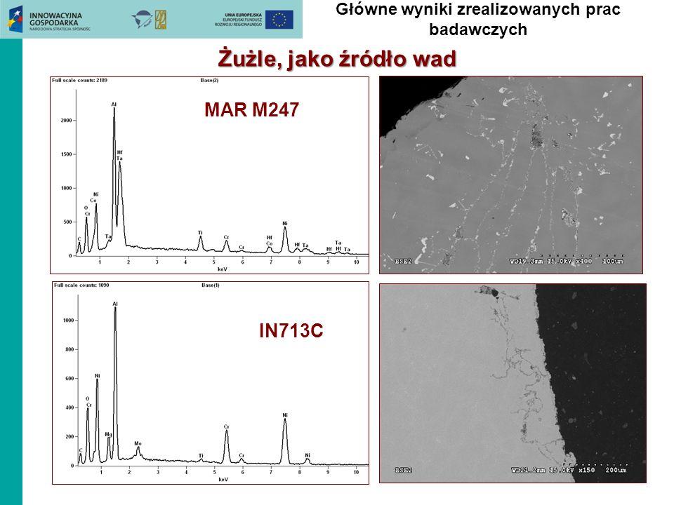 Żużle, jako źródło wad MAR M247 IN713C Główne wyniki zrealizowanych prac badawczych