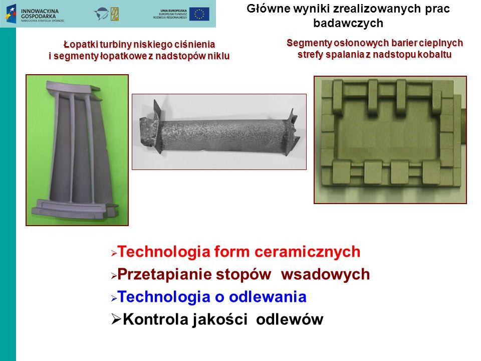 Główne wyniki zrealizowanych prac badawczych Łopatki turbiny niskiego ciśnienia i segmenty łopatkowe z nadstopów niklu Segmenty osłonowych barier ciep