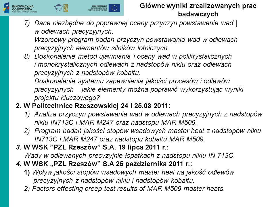 Główne wyniki zrealizowanych prac badawczych 7)Dane niezbędne do poprawnej oceny przyczyn powstawania wad | w odlewach precyzyjnych. Wzorcowy program