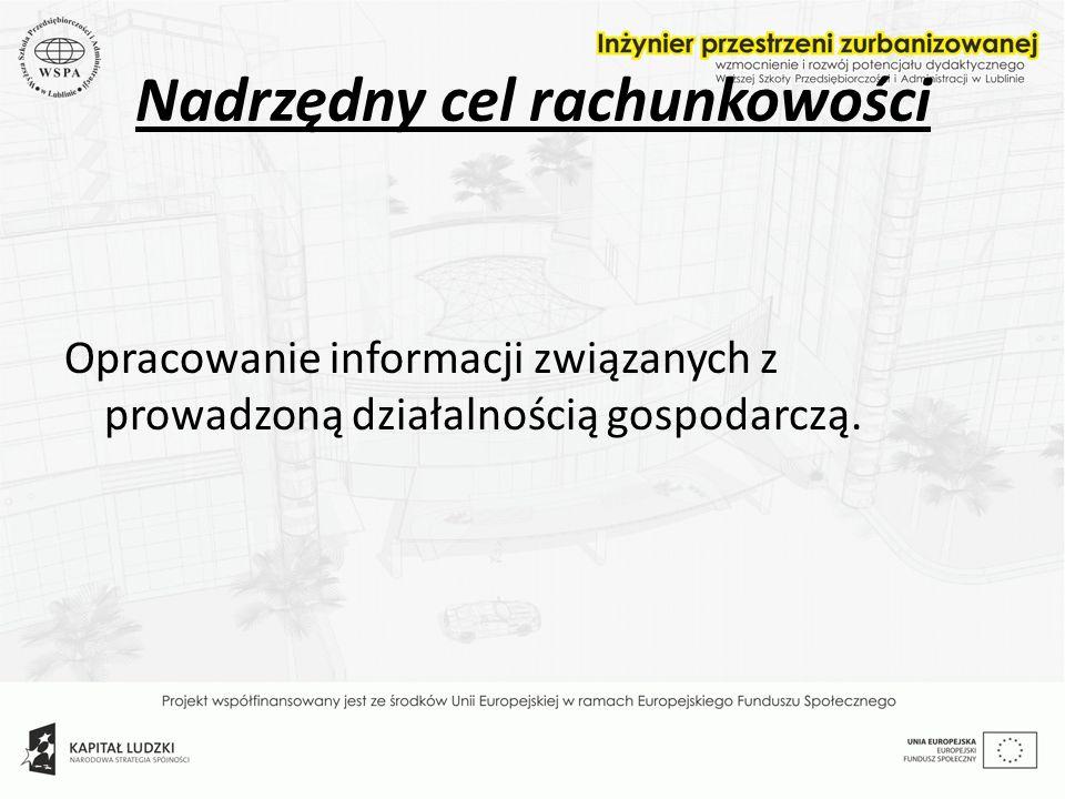 Nadrzędny cel rachunkowości Opracowanie informacji związanych z prowadzoną działalnością gospodarczą.