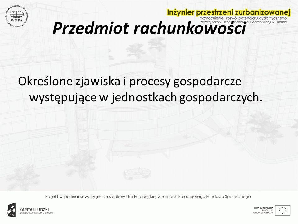 Przedmiot rachunkowości Określone zjawiska i procesy gospodarcze występujące w jednostkach gospodarczych.