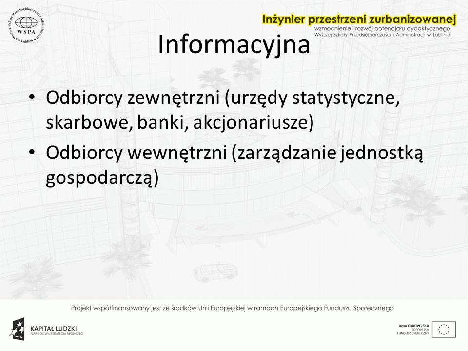 Informacyjna Odbiorcy zewnętrzni (urzędy statystyczne, skarbowe, banki, akcjonariusze) Odbiorcy wewnętrzni (zarządzanie jednostką gospodarczą)