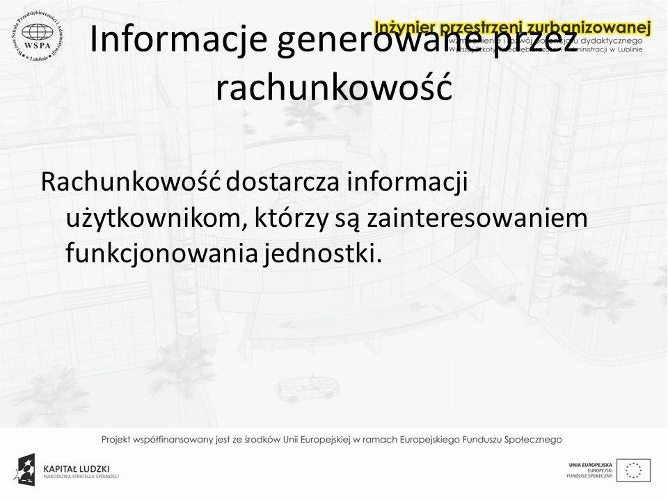 Informacje generowane przez rachunkowość Rachunkowość dostarcza informacji użytkownikom, którzy są zainteresowaniem funkcjonowania jednostki.