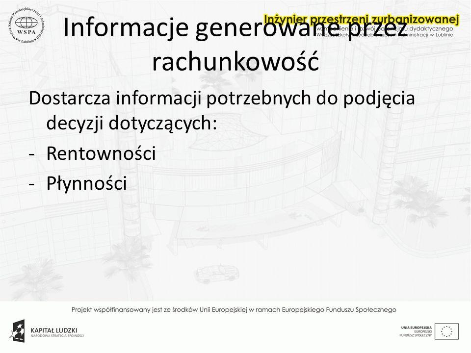 Informacje generowane przez rachunkowość Dostarcza informacji potrzebnych do podjęcia decyzji dotyczących: -Rentowności -Płynności
