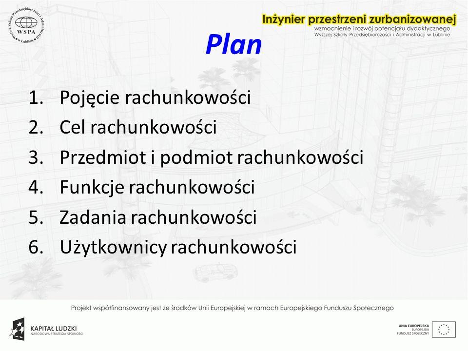 Plan 1.Pojęcie rachunkowości 2.Cel rachunkowości 3.Przedmiot i podmiot rachunkowości 4.Funkcje rachunkowości 5.Zadania rachunkowości 6.Użytkownicy rac