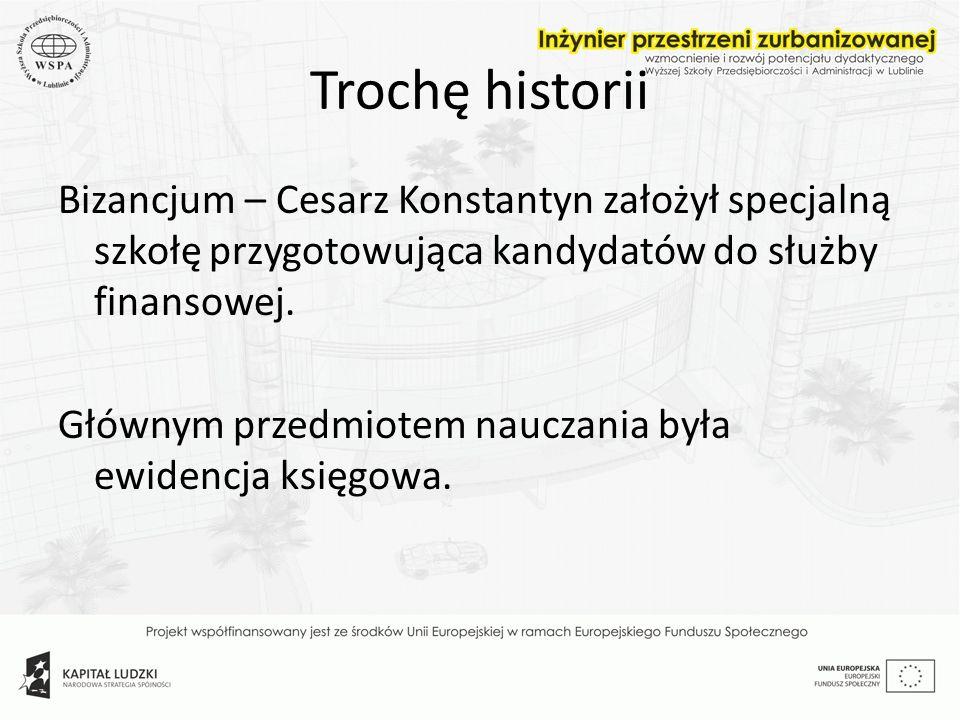 Trochę historii Bizancjum – Cesarz Konstantyn założył specjalną szkołę przygotowująca kandydatów do służby finansowej. Głównym przedmiotem nauczania b