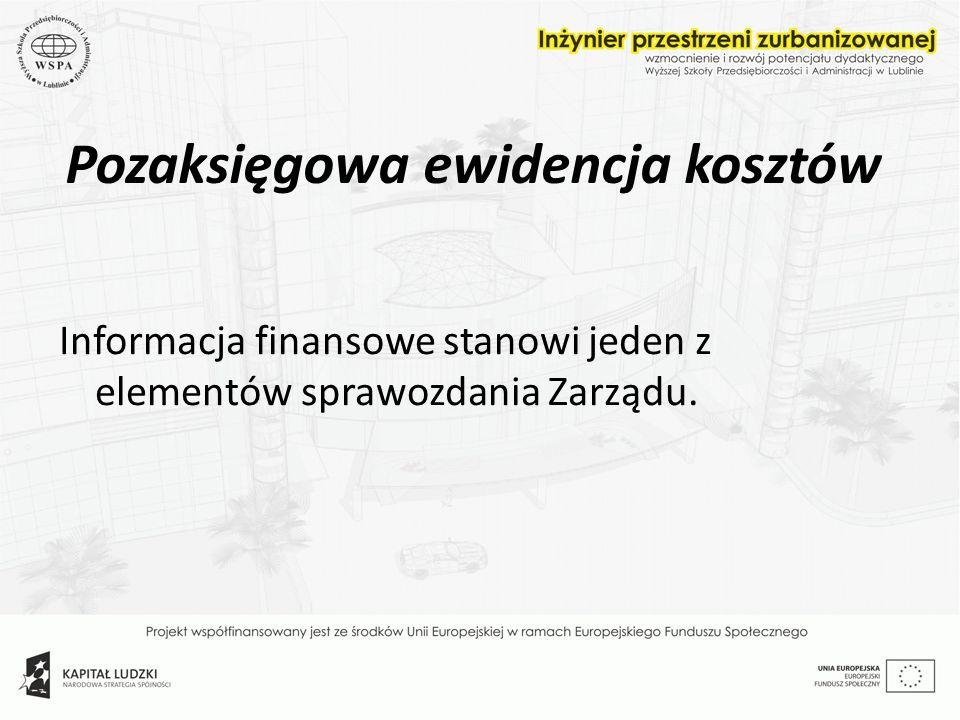Pozaksięgowa ewidencja kosztów Informacja finansowe stanowi jeden z elementów sprawozdania Zarządu.