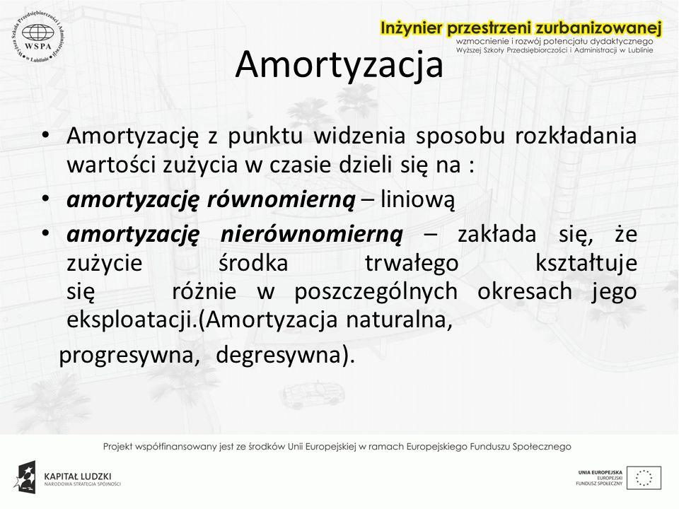 Amortyzacja Amortyzację z punktu widzenia sposobu rozkładania wartości zużycia w czasie dzieli się na : amortyzację równomierną – liniową amortyzację