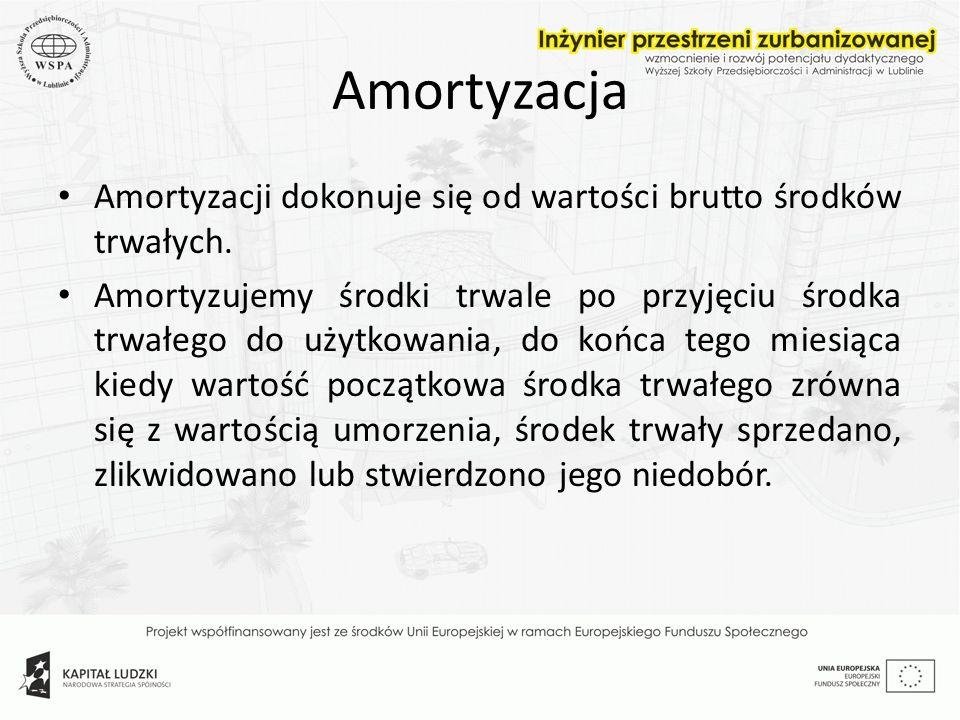Amortyzacja Amortyzacji dokonuje się od wartości brutto środków trwałych. Amortyzujemy środki trwale po przyjęciu środka trwałego do użytkowania, do k