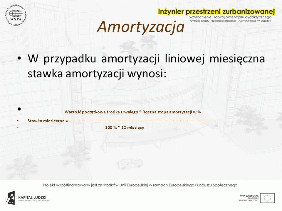Amortyzacja W przypadku amortyzacji liniowej miesięczna stawka amortyzacji wynosi: Wartość początkowa środka trwałego * Roczna stopa amortyzacji w % S