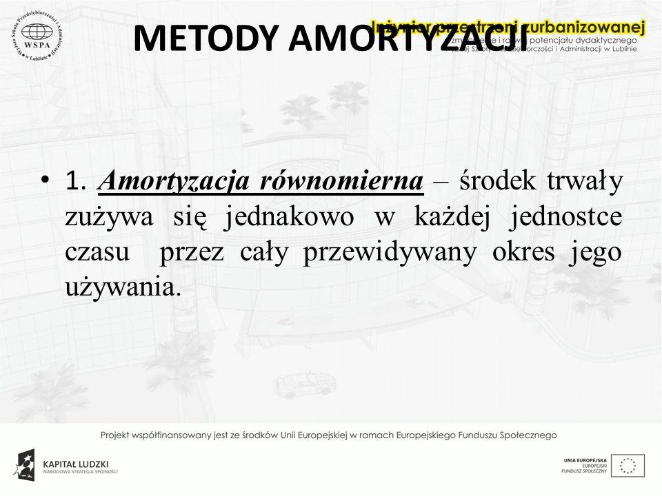 METODY AMORTYZACJI 1. Amortyzacja równomierna – środek trwały zużywa się jednakowo w każdej jednostce czasu przez cały przewidywany okres jego używani