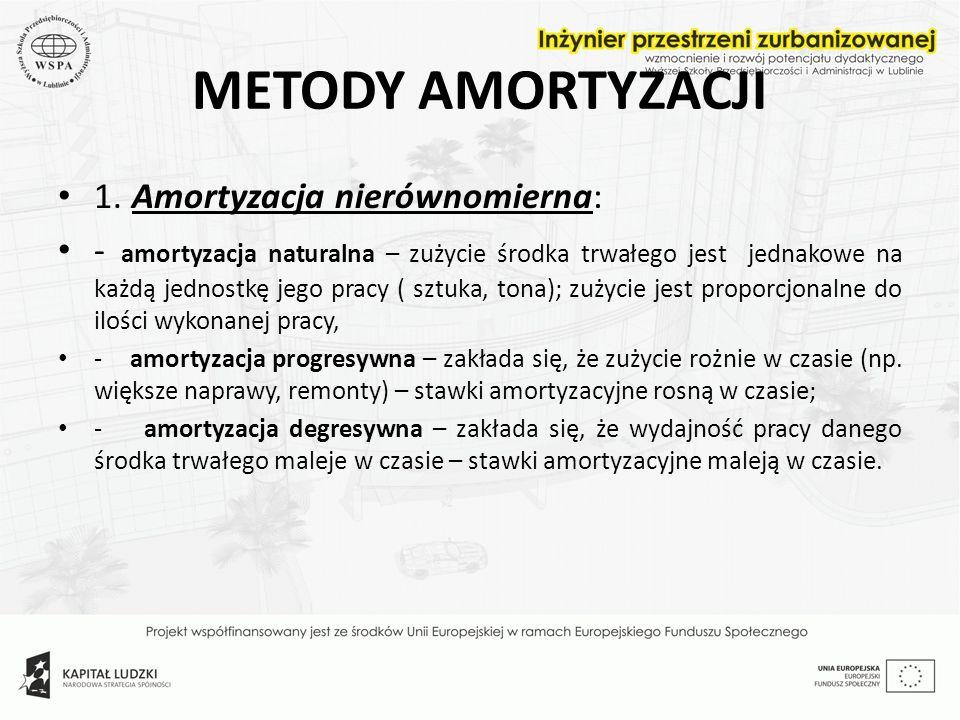 METODY AMORTYZACJI 1. Amortyzacja nierównomierna: - amortyzacja naturalna – zużycie środka trwałego jest jednakowe na każdą jednostkę jego pracy ( szt
