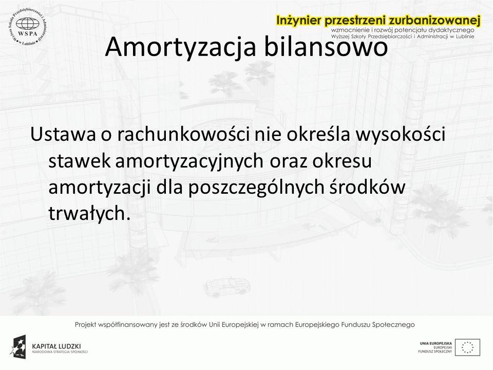 Amortyzacja bilansowo Ustawa o rachunkowości nie określa wysokości stawek amortyzacyjnych oraz okresu amortyzacji dla poszczególnych środków trwałych.