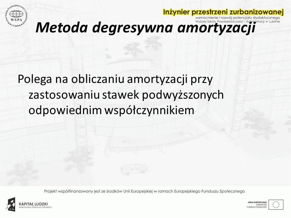 Metoda degresywna amortyzacji Polega na obliczaniu amortyzacji przy zastosowaniu stawek podwyższonych odpowiednim współczynnikiem