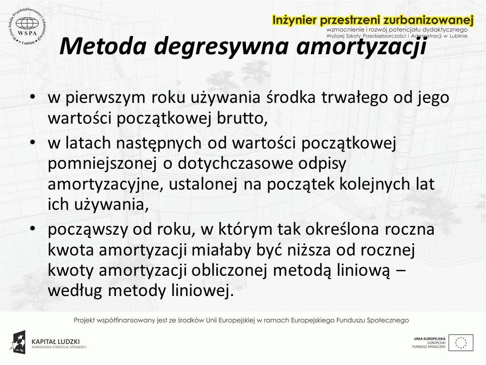 Metoda degresywna amortyzacji w pierwszym roku używania środka trwałego od jego wartości początkowej brutto, w latach następnych od wartości początkow