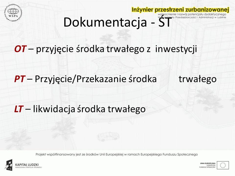 Dokumentacja - ŚT OT – przyjęcie środka trwałego z inwestycji PT – Przyjęcie/Przekazanie środka trwałego LT – likwidacja środka trwałego