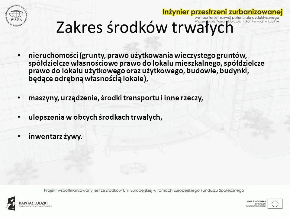 Zakres środków trwałych nieruchomości (grunty, prawo użytkowania wieczystego gruntów, spółdzielcze własnościowe prawo do lokalu mieszkalnego, spółdzie