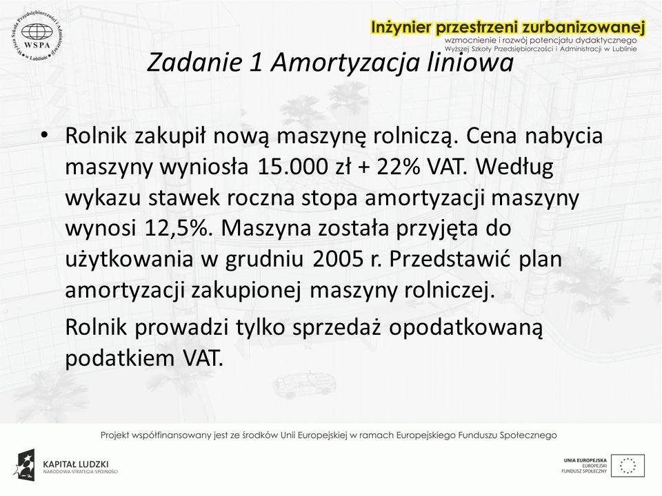Zadanie 1 Amortyzacja liniowa Rolnik zakupił nową maszynę rolniczą. Cena nabycia maszyny wyniosła 15.000 zł + 22% VAT. Według wykazu stawek roczna sto