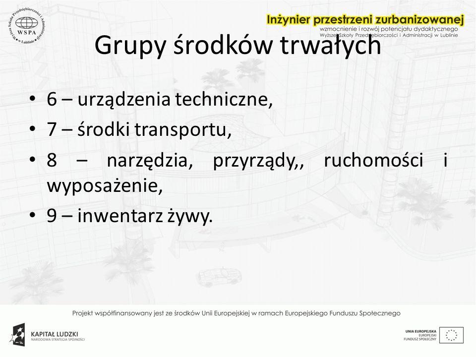 Grupy środków trwałych 6 – urządzenia techniczne, 7 – środki transportu, 8 – narzędzia, przyrządy,, ruchomości i wyposażenie, 9 – inwentarz żywy.