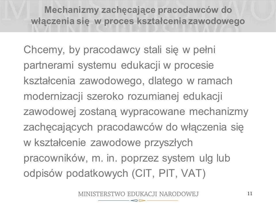 11 Mechanizmy zachęcające pracodawców do włączenia się w proces kształcenia zawodowego Chcemy, by pracodawcy stali się w pełni partnerami systemu eduk