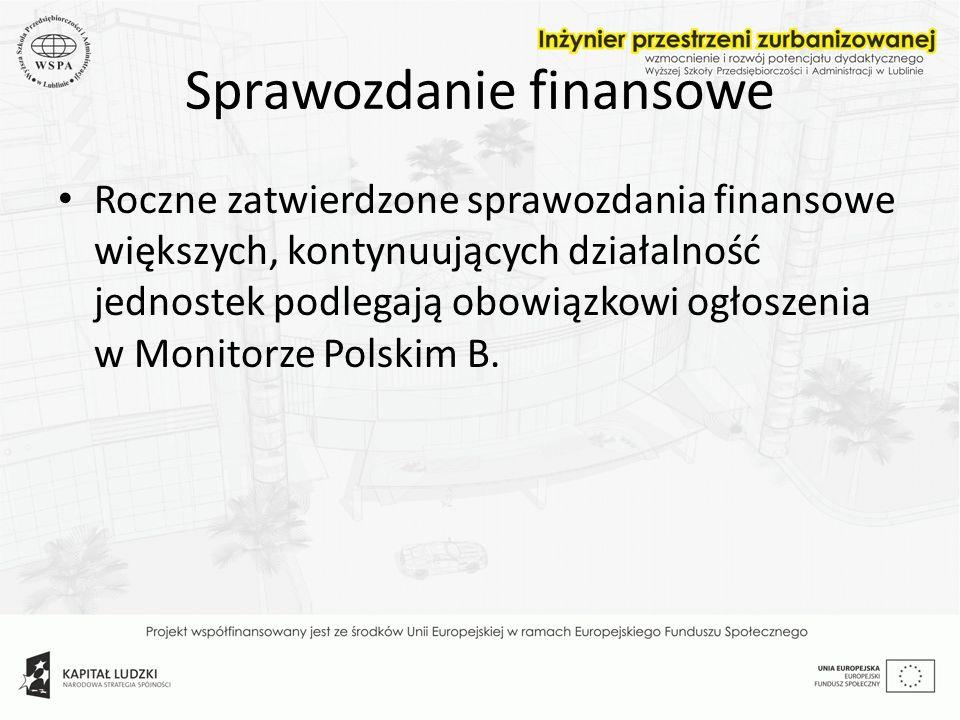 Sprawozdanie finansowe Roczne zatwierdzone sprawozdania finansowe większych, kontynuujących działalność jednostek podlegają obowiązkowi ogłoszenia w M