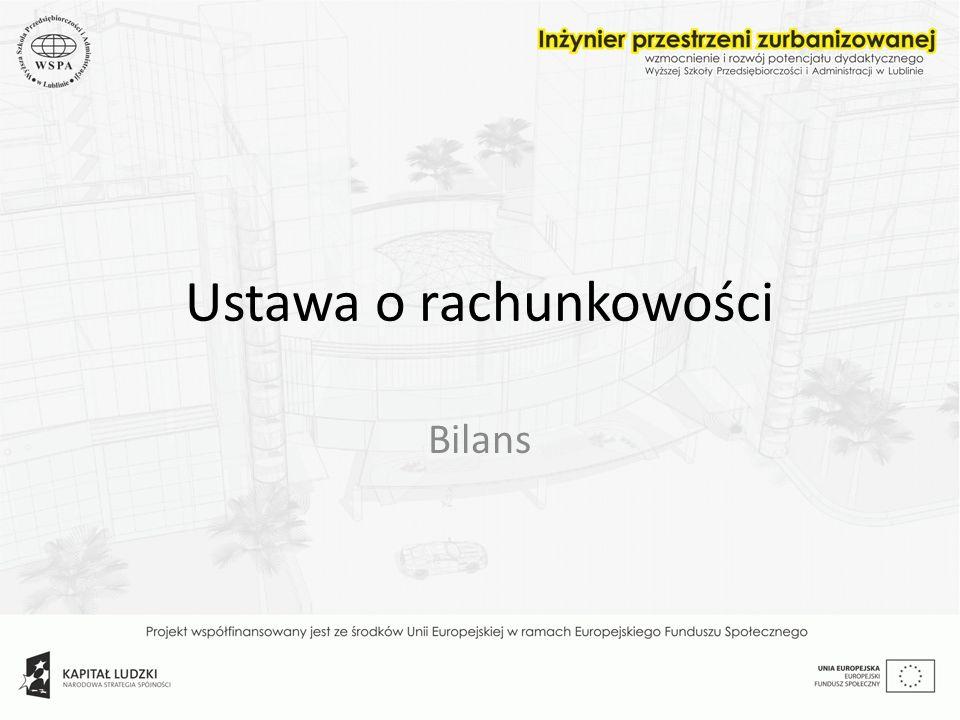 Ustawa o rachunkowości Rachunkowość w Polsce jest regulowana ustawowo: ustawa o rachunkowości z dnia 24 września 1994 (Dz.