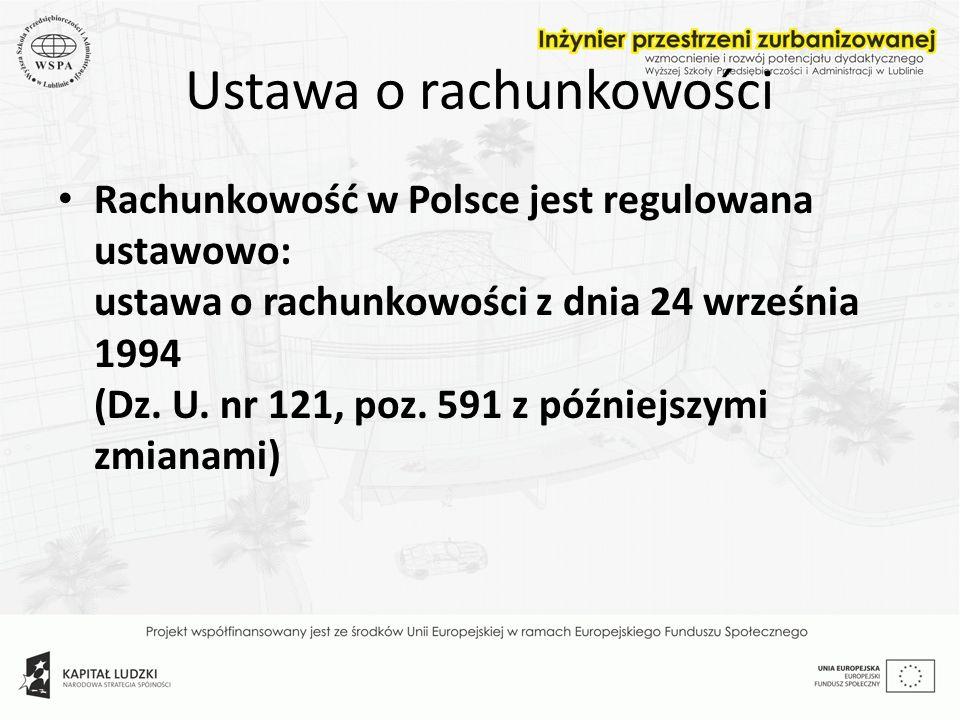 Ustawa o rachunkowości Rachunkowość w Polsce jest regulowana ustawowo: ustawa o rachunkowości z dnia 24 września 1994 (Dz. U. nr 121, poz. 591 z późni