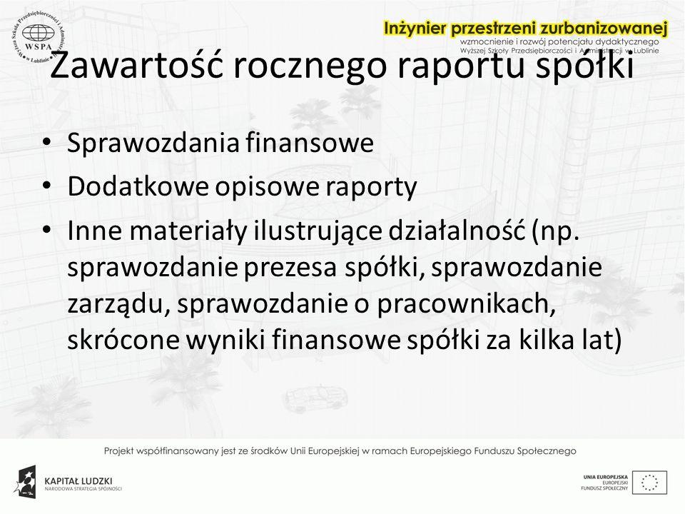Zawartość rocznego raportu spółki Sprawozdania finansowe Dodatkowe opisowe raporty Inne materiały ilustrujące działalność (np. sprawozdanie prezesa sp
