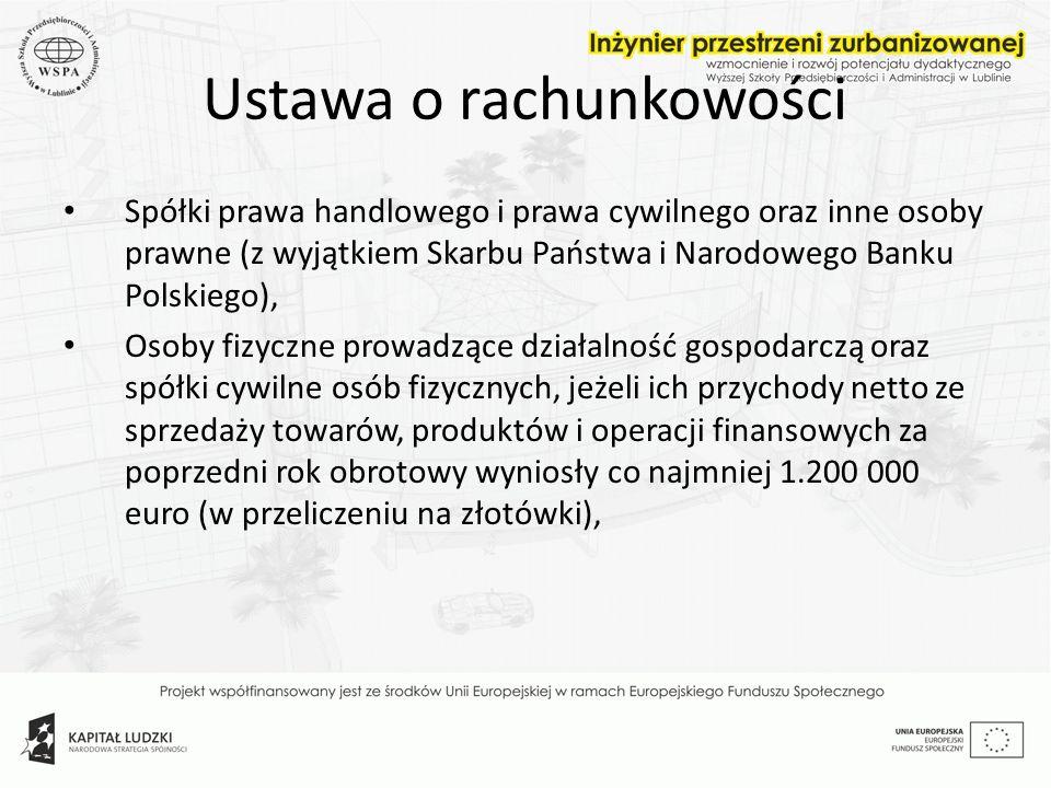 Ustawa o rachunkowości Jednostki sektora publicznego (np.
