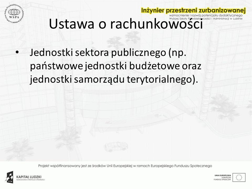 Ustawa o rachunkowości Jednostki sektora publicznego (np. państwowe jednostki budżetowe oraz jednostki samorządu terytorialnego).